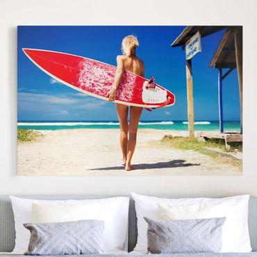 Leinwandbild - Surfergirl - Quer 3:2