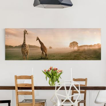 Afrika Leinwandbild Surreal Giraffes - Panorama Quer