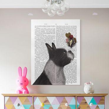 Leinwandbild - Tierlektüre - Terrier mit Eis - Hochformat 4:3