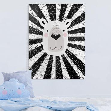 Leinwandbild - Tierpark mit Mustern - Löwe - Hochformat 4:3