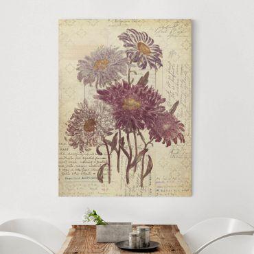Leinwandbild - Vintage Blumen mit Handschrift - Hochformat 3:4