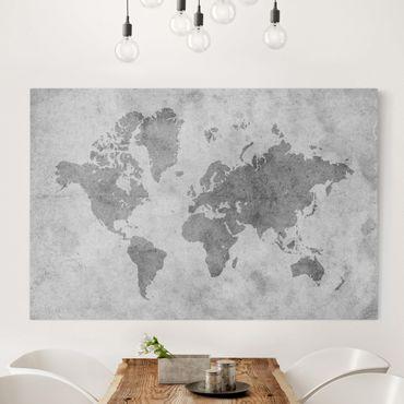Leinwandbild Schwarz-Weiß - Vintage Weltkarte II - Quer 3:2