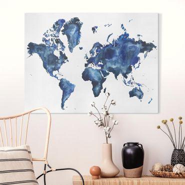 Leinwandbild - Wasser-Weltkarte hell - Querformat 3:4