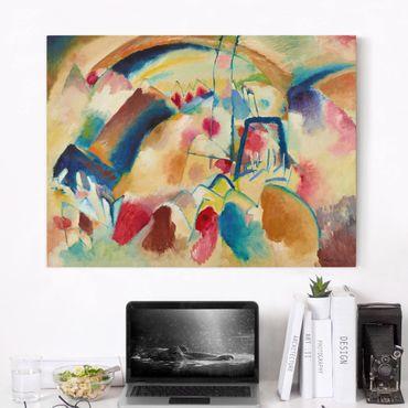 Leinwandbild - Wassily Kandinsky - Landschaft mit Kirche (Landschaft mit roten Flecken I) - Quer 4:3