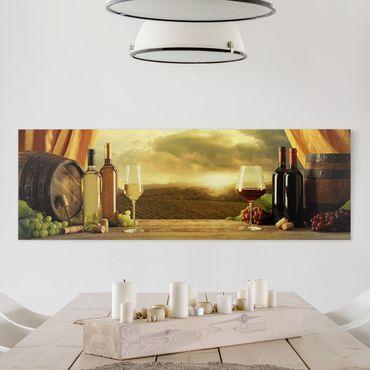 Leinwandbild - Wein mit Ausblick - Panorama 1:3
