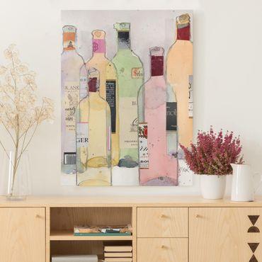 Leinwandbild - Weinflaschen in Wasserfarbe I - Hochformat 4:3