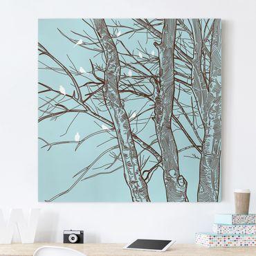 Leinwandbild - Winterbäume - Quadrat 1:1