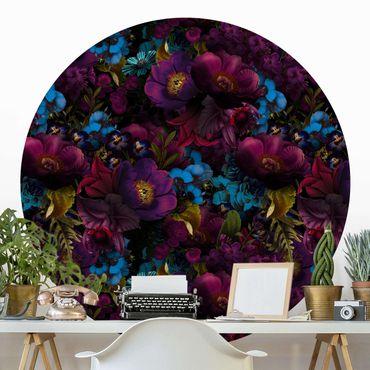 Runde Tapete selbstklebend - Lila Blüten mit Blauen Blumen