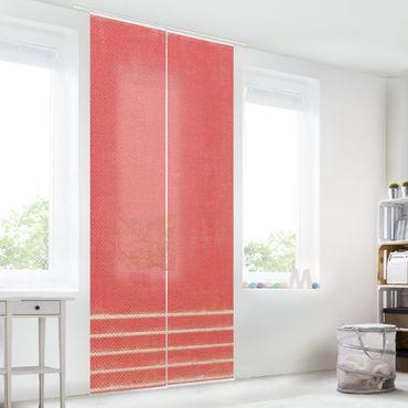 Schiebegardinen Set - Linien Treffen auf Rot - Flächenvorhang