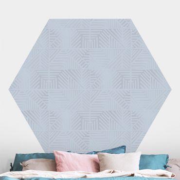 Hexagon Mustertapete selbstklebend - Linienmuster Stempel in Blau