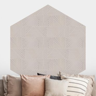 Hexagon Mustertapete selbstklebend - Linienmuster Stempel in Taupe