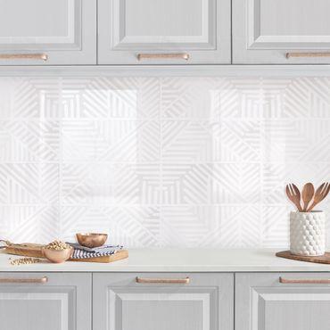 Küchenrückwand - Linienmuster Stempel in Weiß