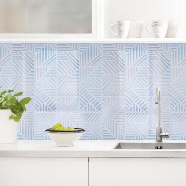 Küchenrückwand - Linienmuster Verlauf in Blau