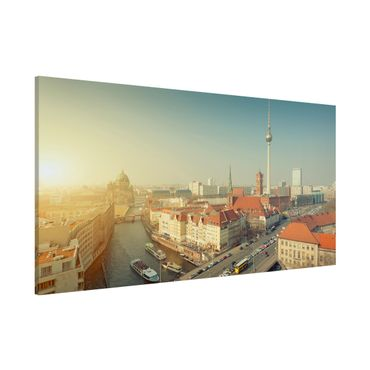 Magnettafel - Berlin am Morgen - Memoboard Panorama Quer