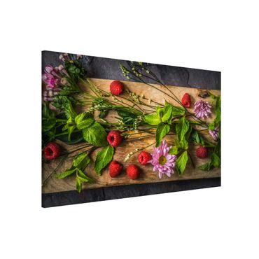 Magnettafel - Blumen Himbeeren Minze - Memoboard Quer