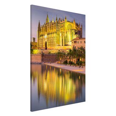 Magnettafel - Catedral de Mallorca Wasserspiegelung - Memoboard Querformat