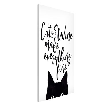 Magnettafel - Cats and Wine make everything fine - Memoboard Hochformat