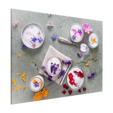 Magnettafel - Essbare Blüten mit Lavendelzucker - Memoboard Querformat