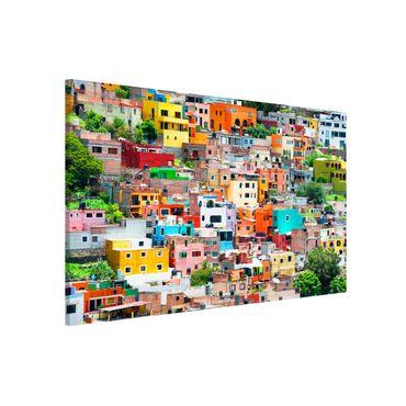 Magnettafel - Farbige Häuserfront Guanajuato - Memoboard Hoch
