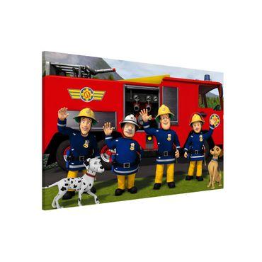 Magnettafel - Feuerwehrmann Sam - Freunde - Memoboard Querformat