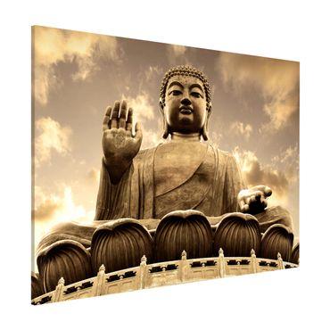 Magnettafel - Großer Buddha Sepia - Memoboard Quer