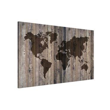 Magnettafel - Holz Weltkarte - Memoboard Querformat