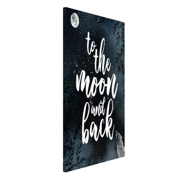 Magnettafel - Love you to the moon and back - Memoboard Hochformat
