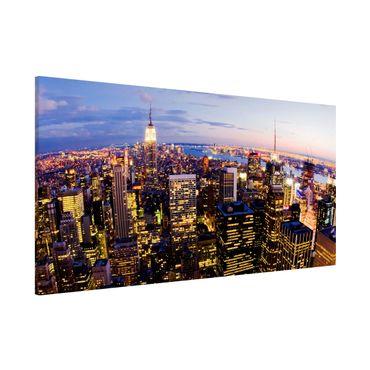 Magnettafel - New York Skyline bei Nacht - Memoboard Panorama Quer