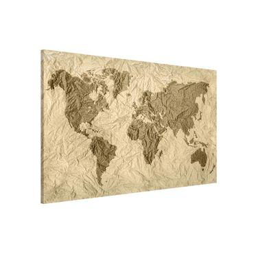 Magnettafel - Papier Weltkarte Beige Braun - Memoboard Querformat