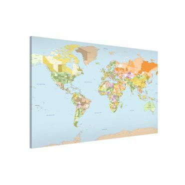 Magnettafel - Politische Weltkarte - Memoboard Quer