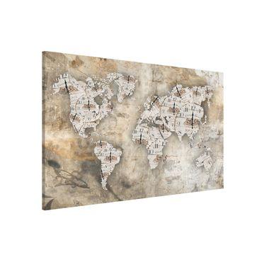 Magnettafel - Shabby Uhren Weltkarte - Memoboard Querformat