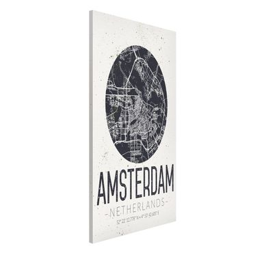 Magnettafel - Stadtplan Amsterdam - Retro - Memoboard Hochformat
