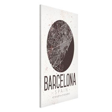 Magnettafel - Stadtplan Barcelona - Retro - Memoboard Hochformat