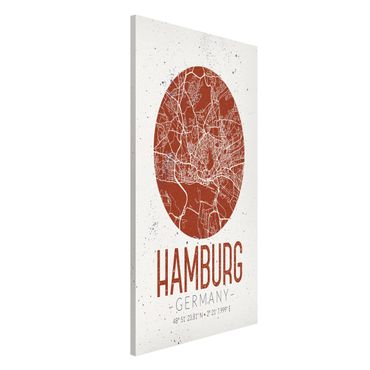 Magnettafel - Stadtplan Hamburg - Retro - Memoboard Hochformat