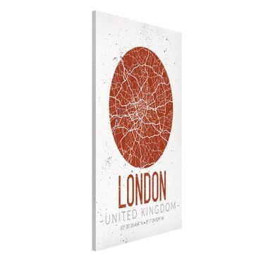 Magnettafel - Stadtplan London - Retro - Memoboard Hochformat