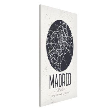 Magnettafel - Stadtplan Madrid - Retro - Memoboard Hochformat