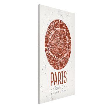 Magnettafel - Stadtplan Paris - Retro - Memoboard Hochformat