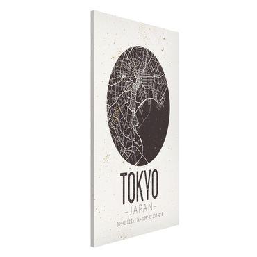Magnettafel - Stadtplan Tokyo - Retro - Memoboard Hochformat