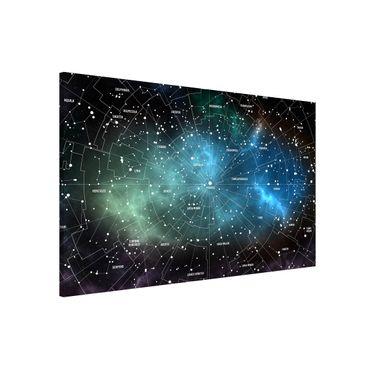 Magnettafel - Sternbilder Karte Galaxienebel - Memoboard Panorama Querformat