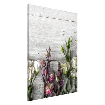 Magnettafel - Tulpen-Rose Shabby Holzoptik - Memoboard Panorama Quer