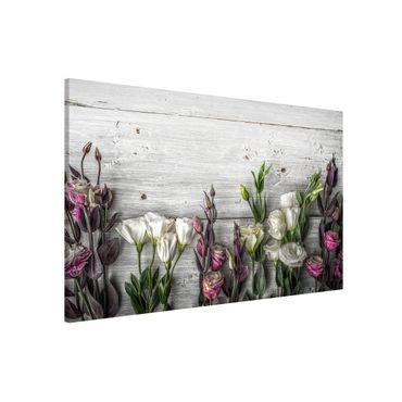 Magnettafel - Tulpen-Rose Shabby Holzoptik - Memoboard Hoch