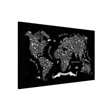 Magnettafel - Typografie Weltkarte schwarz - Memoboard Querformat