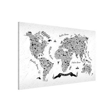 Magnettafel - Typografie Weltkarte weiß - Memoboard Querformat