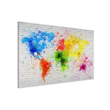 Magnettafel - Weiße Backsteinwand Weltkarte - Memoboard Querformat