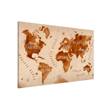 Magnettafel - Weltkarte Aquarell beige braun - Memoboard Querformat
