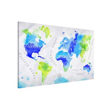 Magnettafel - Weltkarte Aquarell blau grün - Memoboard Querformat