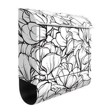 Briefkasten - Magnolien Blütenmeer Schwarz Weiß