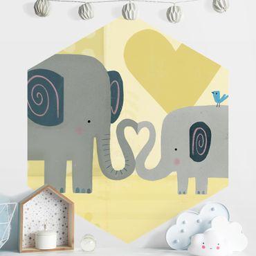 Hexagon Mustertapete selbstklebend - Mama und ich - Elefanten