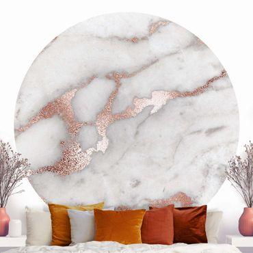 Runde Tapete selbstklebend - Mamoroptik mit Glitzer