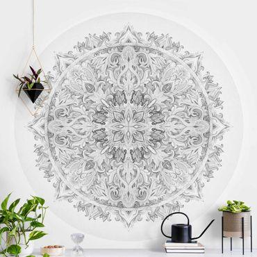 Runde Tapete selbstklebend - Mandala Aquarell Ornament schwarz weiß